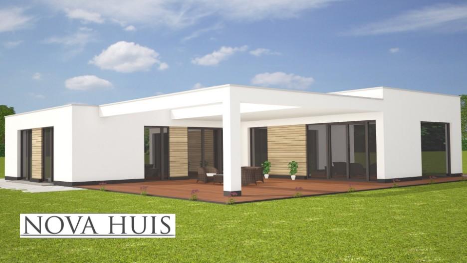 Moderne bungalow met plat dak bouwen a36 nova huis for Moderne semi bungalow bouwen