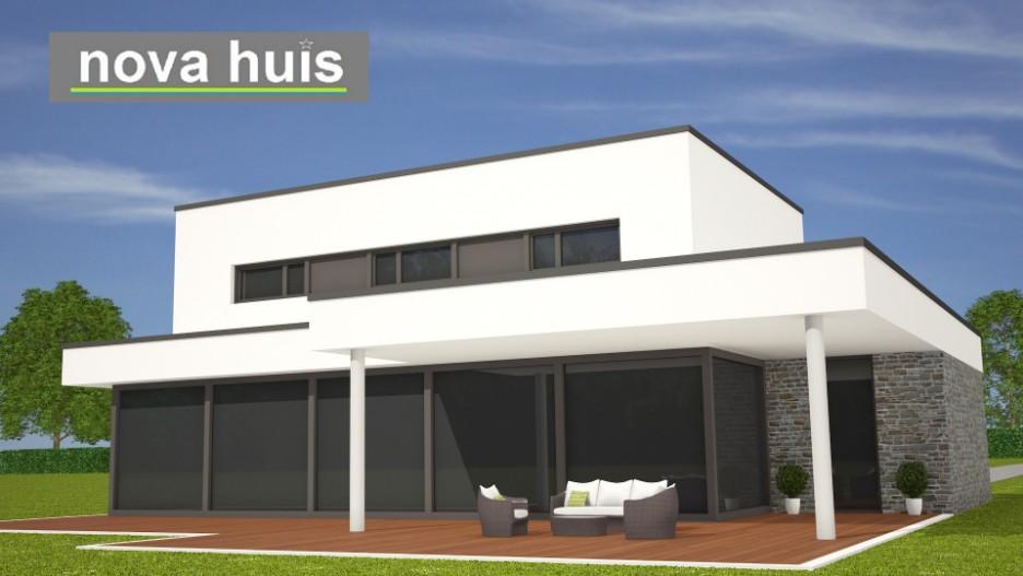 Modern kubistisch woning huis of villa nova huis - Modern overdekt terras ...
