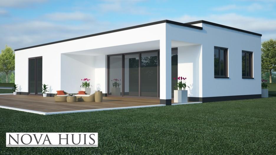 moderne bungalow met plat dak bouwen a8 nova huis. Black Bedroom Furniture Sets. Home Design Ideas