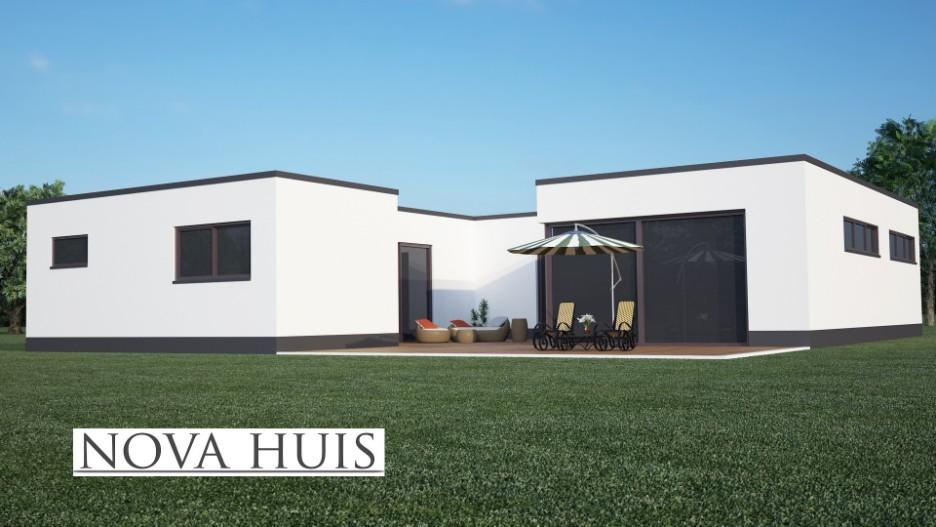 Moderne bungalow met plat dak bouwen a nova huis