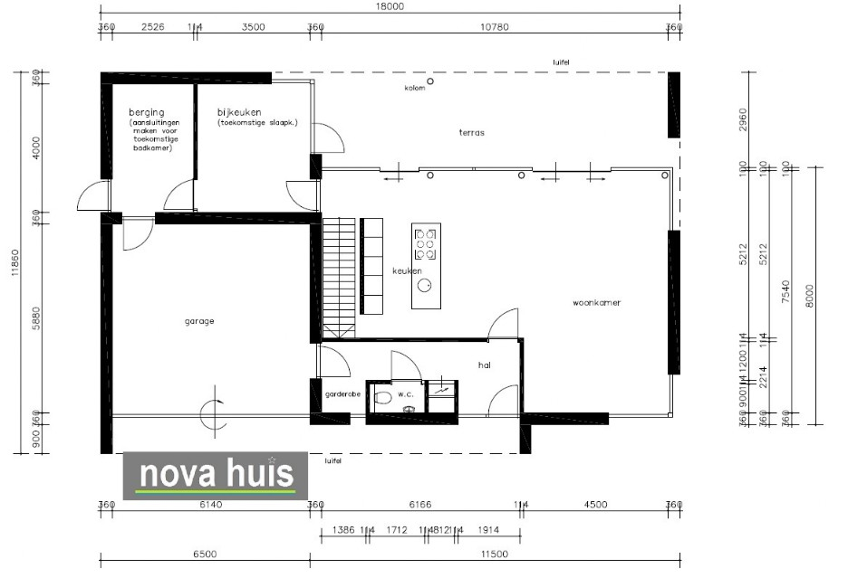 Moderne kubistische woning k62 nova huis for Woning indeling