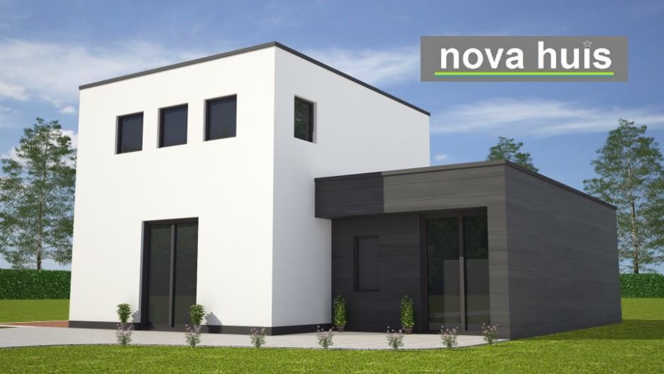 Novahuis moderne kubistische woning met overdekt terras for Goedkoop huis laten bouwen