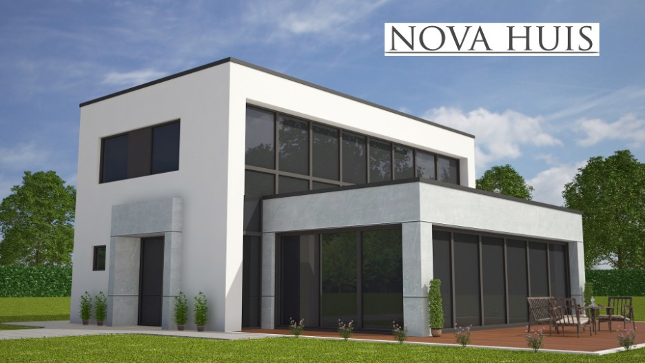 nova huis moderne kubistische woning met verdieping bouwen slaapkamer en badkamer beneden m254