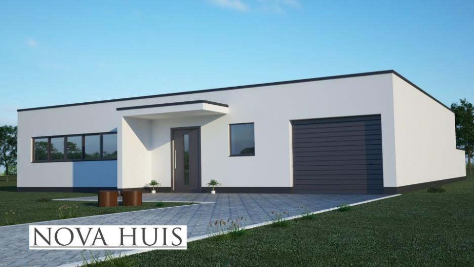 Moderne bungalow met plat dak bouwen a2 nova huis for Moderne semi bungalow bouwen