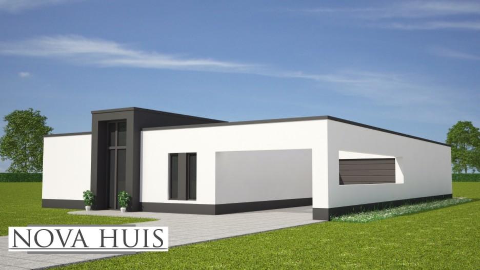 Moderne bungalow met plat dak bouwen a39 nova huis for Moderne semi bungalow bouwen