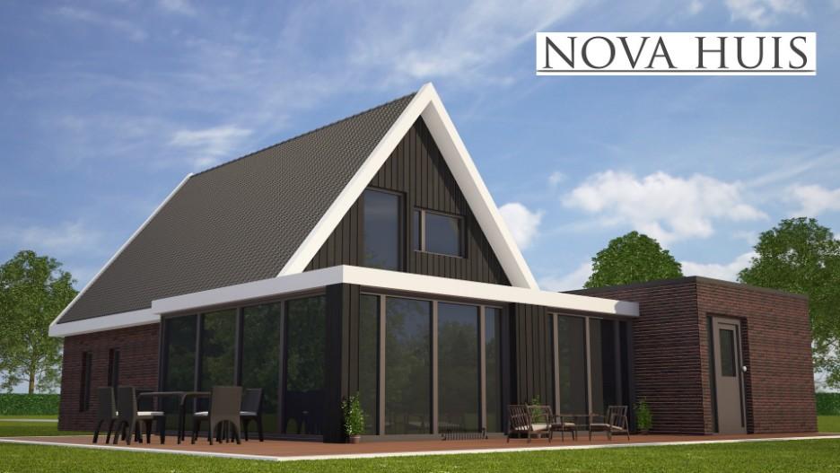 Moderne wonignen met een kap en schuurwoningen type nova huis