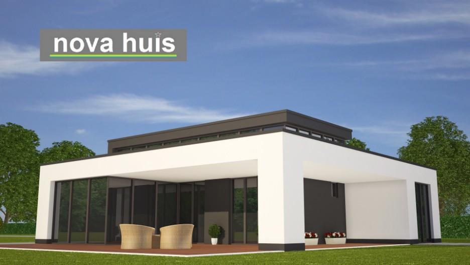 Moderne bungalow met plat dak bouwen a84 nova huis - Huis exterieur model ...
