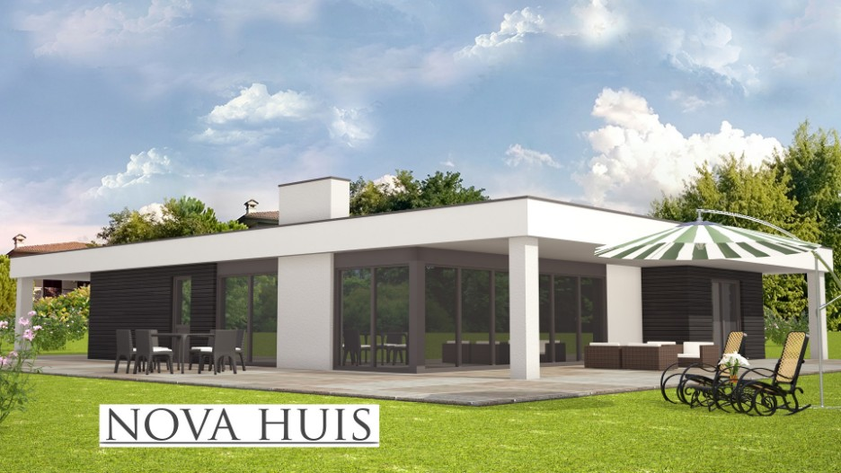 Vrijstaand Huis Bouwen : Moderne prefab bungalow met plat dak bouwen a nova huis