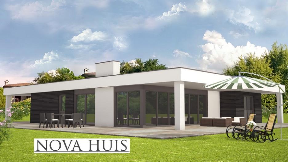 moderne prefab bungalow met plat dak bouwen a82 nova huis