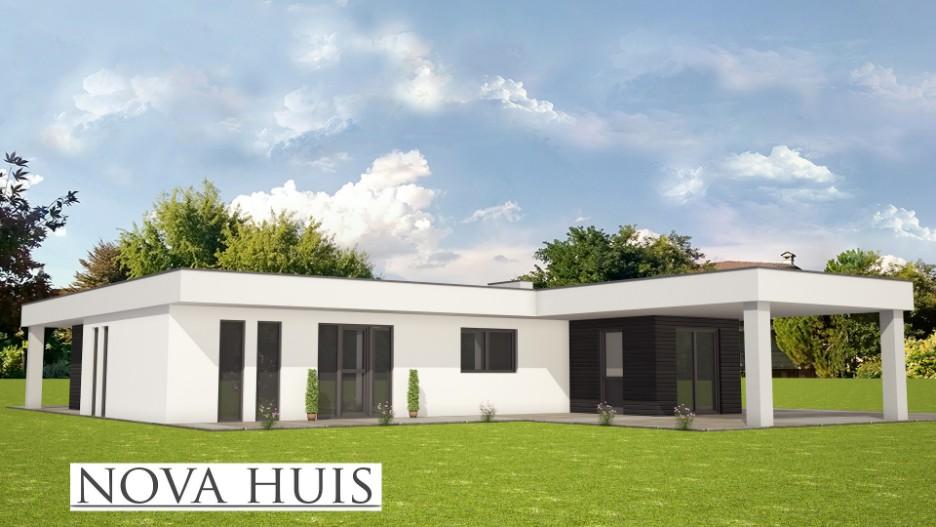 Bungalow Bouwen Prefab : Moderne prefab bungalow met plat dak bouwen a nova huis