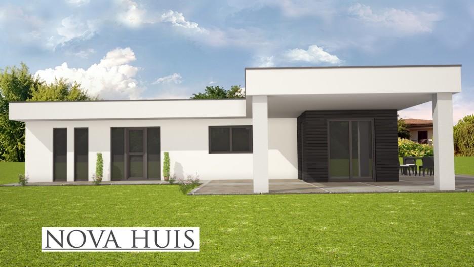 Moderne prefab bungalow met plat dak bouwen a82 nova huis for Huis ontwerpen