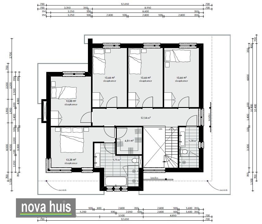 Frank lloyd wright moderne kubistische woning k164 nova huis for Woning indeling