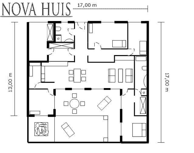 Moderne bungalow met plat dak bouwen a2 nova huis for Ontwerp plattegrond