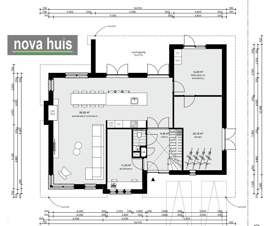 Frank lloyd wright moderne kubistische woning k164 nova huis for Plattegrond woning